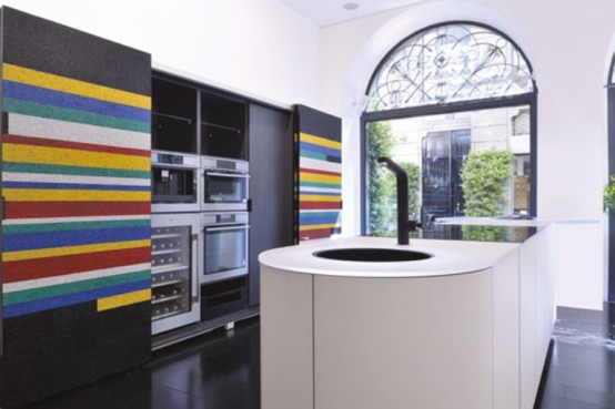 Modern Black-And-White Kitchen With Colorful Details by GD Cucine .