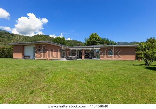 Modern Brick House Garden Outdoors Stock Photo (Edit Now) 4454596