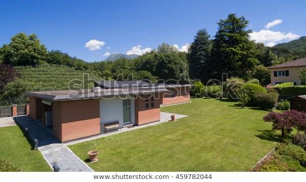 Aerial View Modern Brick House Garden Stock Photo (Edit Now) 4597820