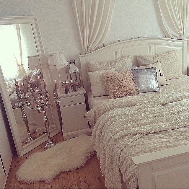 White Bedroom Inspiration   Blush Accents   Silver Accents .
