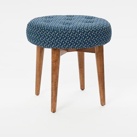 Mid-Century Upholstered Stool, Linen Weave, Platinum | Mid century .