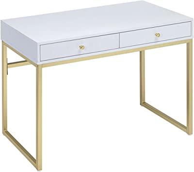 Amazon.com: ACME Furniture Acme 92312 Coleen Desk, White & Brass .