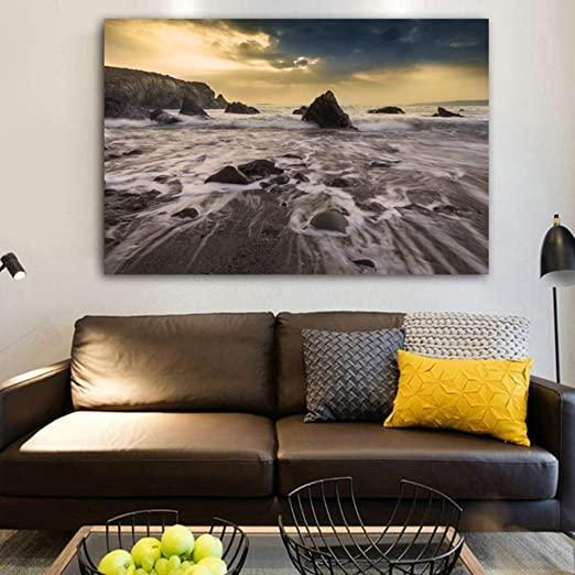 Amazon.com: Fenfei Canvas Painting Landscape Print Beach Rocks .