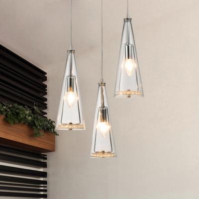 3 Lights Conical Pendant Lighting Modern Design Clear Glass .