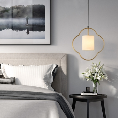 Living Room Bedroom Pendant Light with White Cylinder Shade .