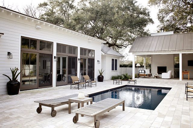 Steal This Look: A Charleston Pool Pavilion with an Outdoor Shower .