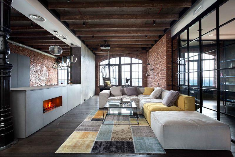 Modern Industrial Loft Apartment in Ukraine | Home Design Lover .