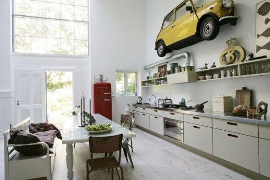 Modern Kitchen Design with Antique Decor Elements   Modern kitchen .