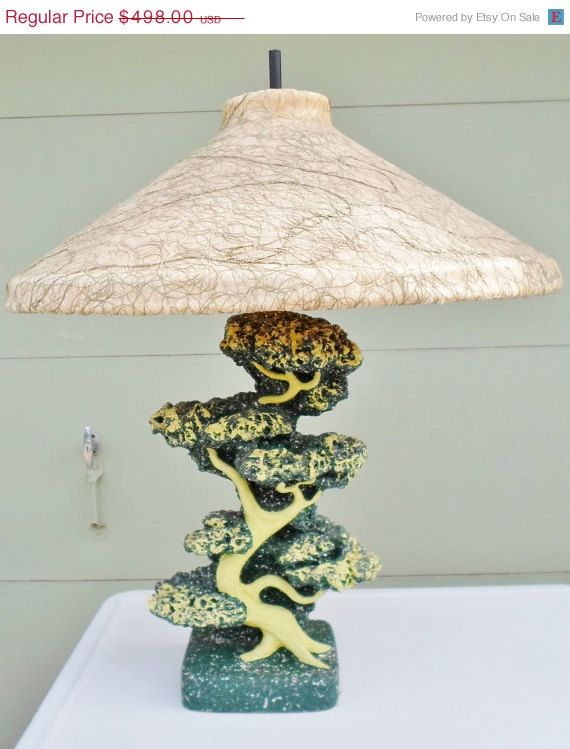 Rare Vintage Reglor Of Calif Chalkware Lamp With Original .