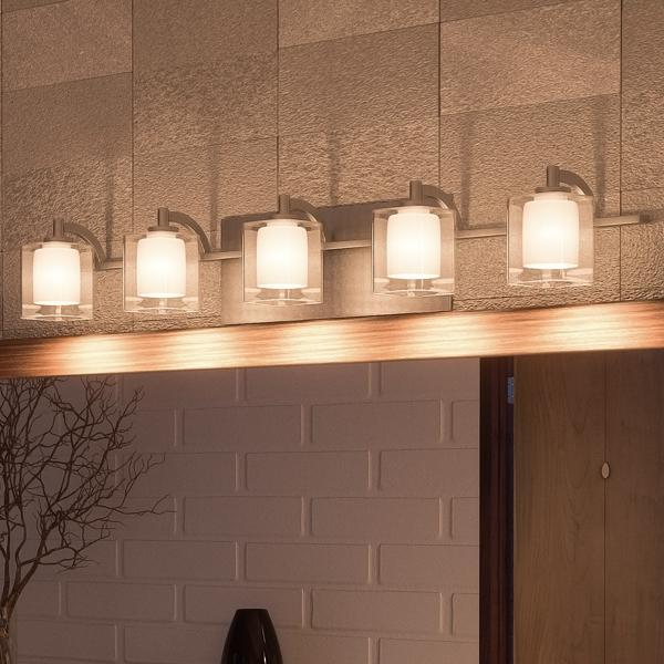 "UQL2406 Modern Bathroom Vanity Light, 6""H x 42""W, Brushed Nickel Fin"