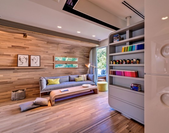 Lively Modern Apartment Interior Design 'Wrapped' In Wood - DigsDi