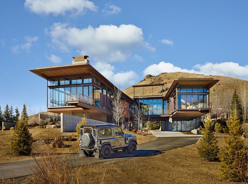 This modern mountain house is filled with industrial materia