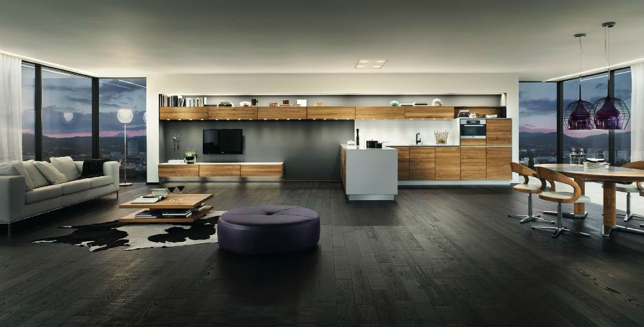 Wooden furniture in a Contemporary Setting | Open plan apartment .