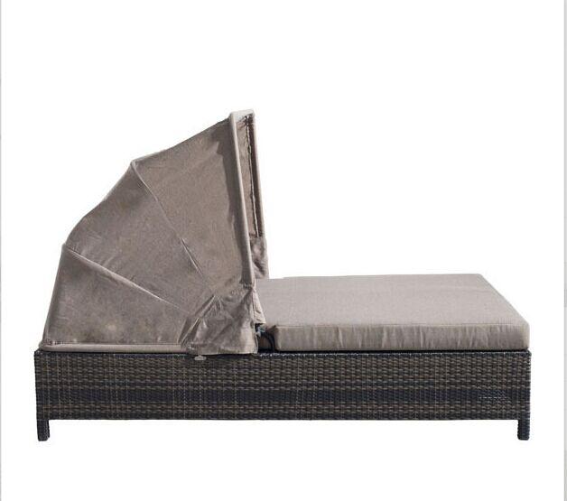 Modern outdoor furniture rattan double sun lounger beds bisma .