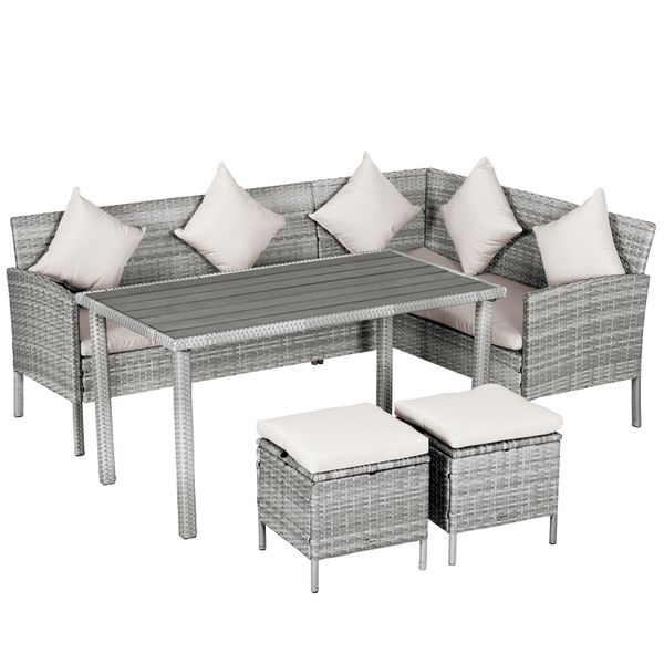 Outsunny 5-Piece Modern Outdoor Wicker Patio Furniture Sets with .