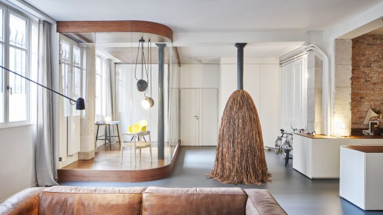 Modern Parisian Apartment With A Podium For Zoning - DigsDi
