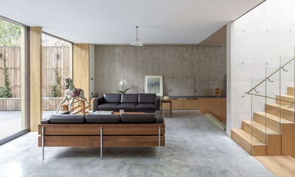 Pear Tree House by Edgley Design | Polished concrete flooring .