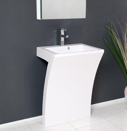 "23"" White Pedestal Sink Modern Bathroom Vanity with Medicine ."