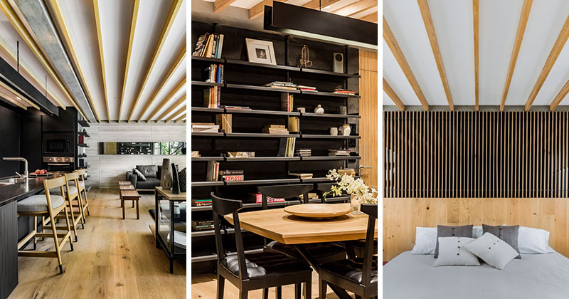 Black And Wood Design Elements Are Ever-Present In This Apartment .