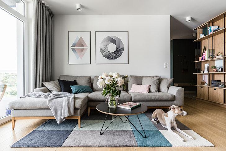 Scandinavian apartment for a young couple in Gansk, Poland .