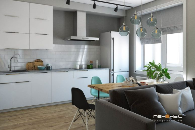 Modern Scandinavian Apartment For A Young Couple | Dining room .
