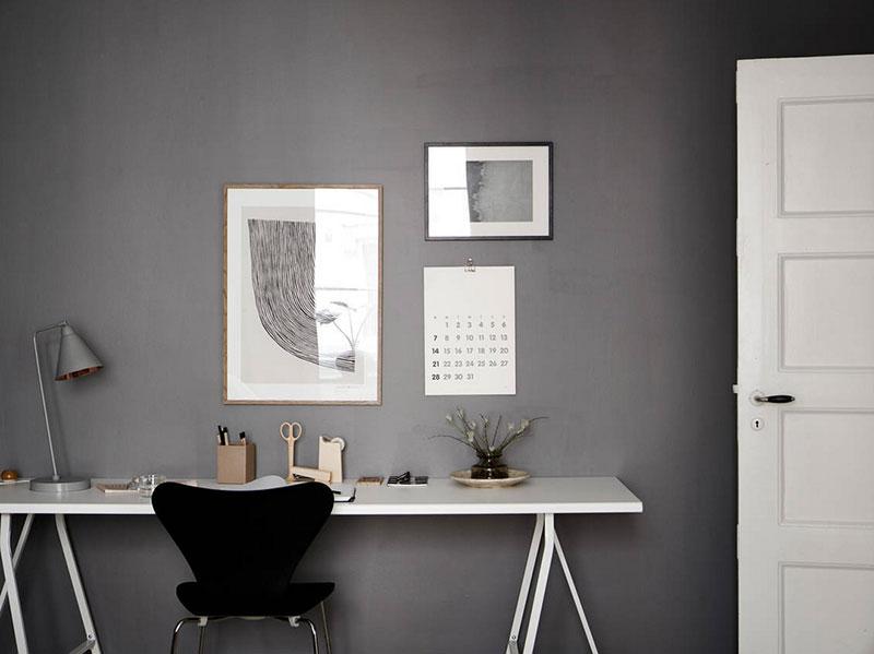 Yellow sofa and dark gray bedroom: modern Scandinavian apartment .