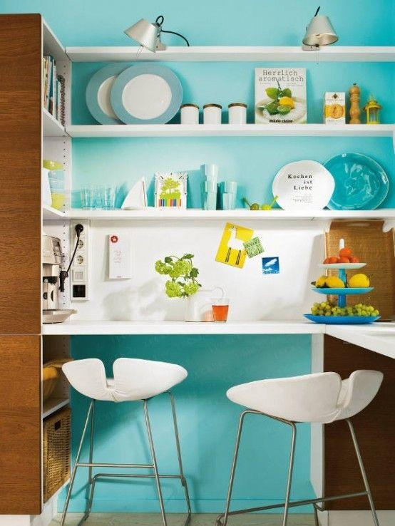 30 Amazing Design Ideas For Small Kitchens   Turquoise kitchen .