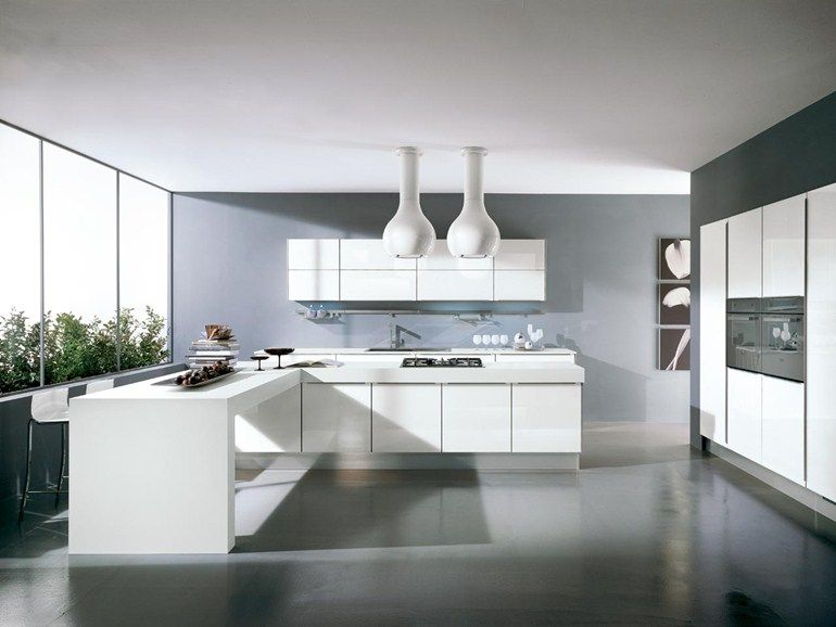 Wood veneer fitted kitchen without handles Fosca Collection by .