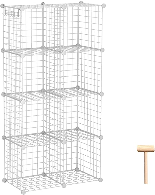Amazon.com: C&AHOME Wire Storage Cubes, Metal Grids Book Shelf .