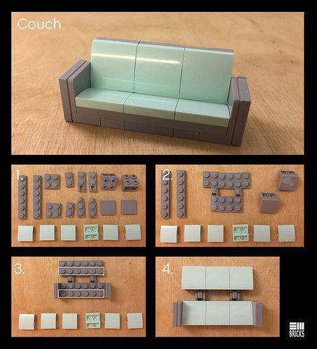 Couch Instructions | Lego design, Lego furniture, Lego cra
