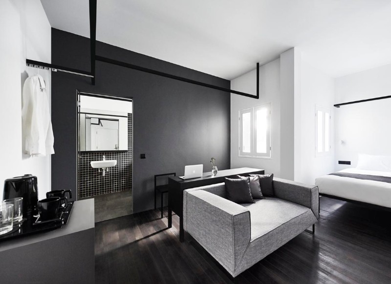 Luxury Hotel Interior Design: Minimalist Monochromatic Style .