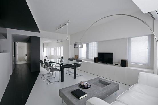 Pure Minimalism: Black And White Monochromatic Apartment Design .