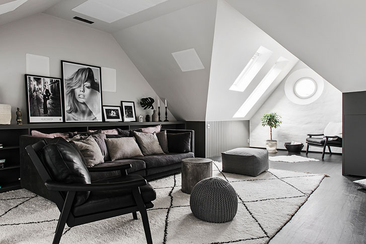 Attic apartment with unusual floor plan in Stockholm 〛 ◾ Фото .