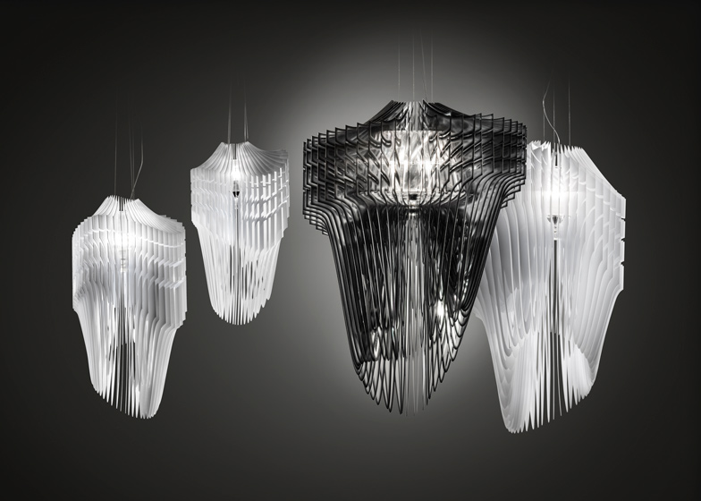 Aria and Avia lamps by Zaha Hadid for Slamp at Euroluce in Mil