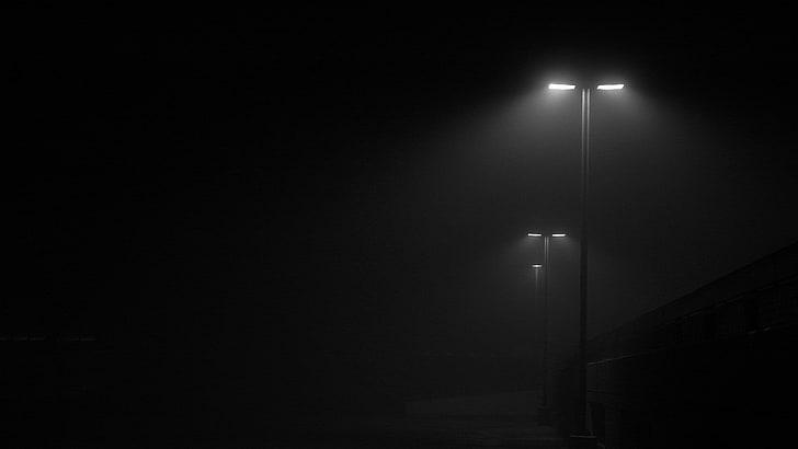 HD wallpaper: black outdoor lamp, mist, street light, minimalism .