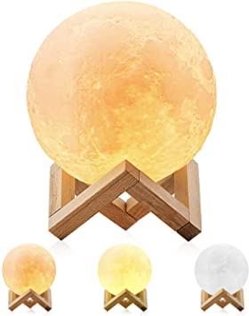 Magicfly Moon Lamp 5.9 Inch 3D Printing Moon Light, Dimmable with .