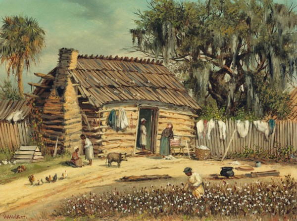 William Aiken Walker (1838-1921), Log and Clay Cabin with Moss .