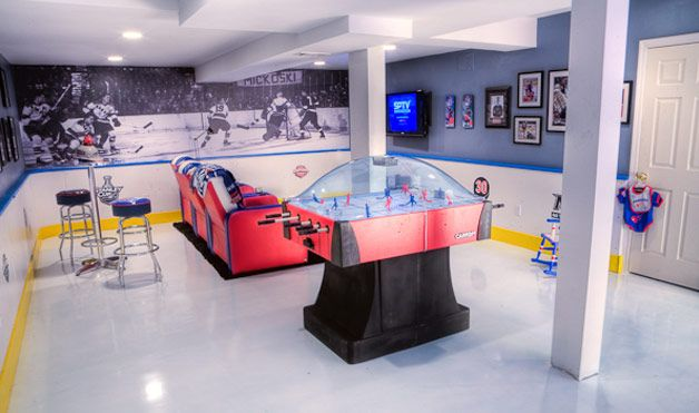 5 The Most Cool And Wacky Basements Ever | Hockey man cave, Man .