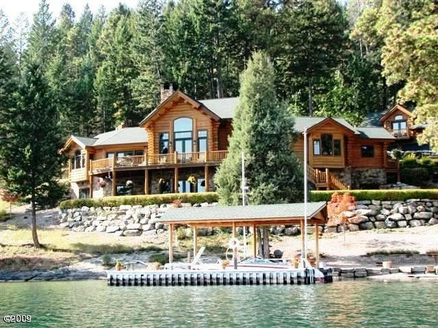 Watersong Luxury Lakefront Alpine Log Home On Flathead Lake, MT .