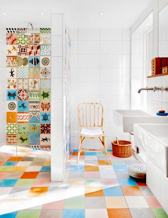 31 Multi-Color Tiled Bathroom Designs - DigsDi