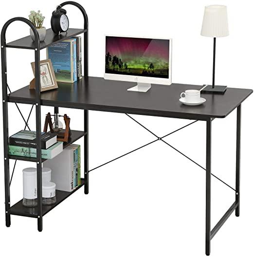 Amazon.com: HOME BI Computer Desk with Shelves, Writing Desk for .