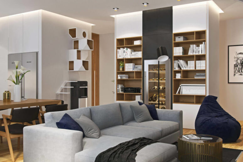 Modern Apartment With A Muted Color Palette, Marble And Wood .