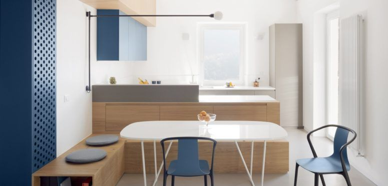 This apartment is done in Japandi style and with a muted color .