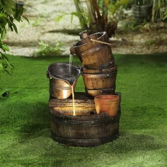 Luxen Home Resin Whiskey Barrel Patio Fountain & Reviews   Wayfa