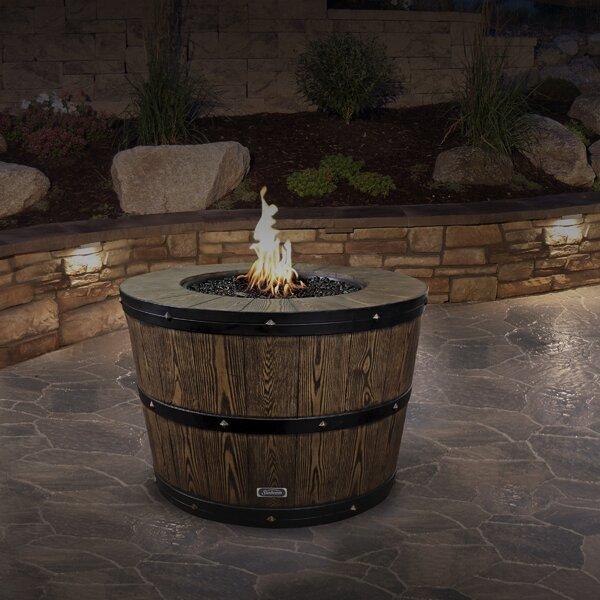 Sunbeam Wine Barrel Concrete Propane/Natural Gas Fire Pit .
