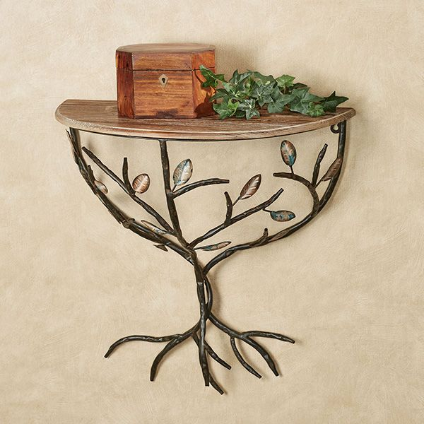 Nature Inspired Leafy Branch Wall Shelf | Wall shelves, Wood .