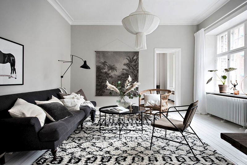 Stylish spacious apartment in neutral colors in Sweden 〛 ◾ Фото .