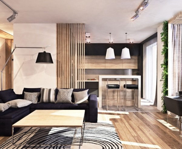 Contemporary apartment design in neutral colors and open space pl