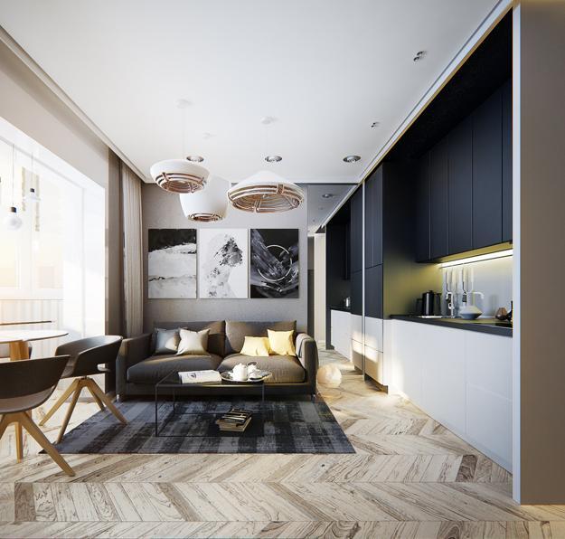 Modern Apartment Ideas, Single Person Studio Design with Bright .