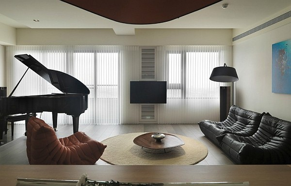 Modern Apartment Plan With Neutral Colors and Bold Accen
